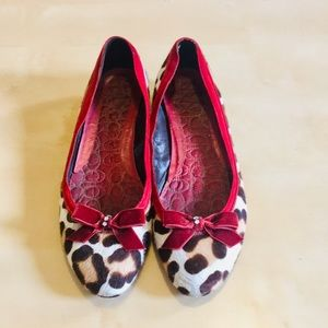 Coach leopard print and red velvet flats size 8
